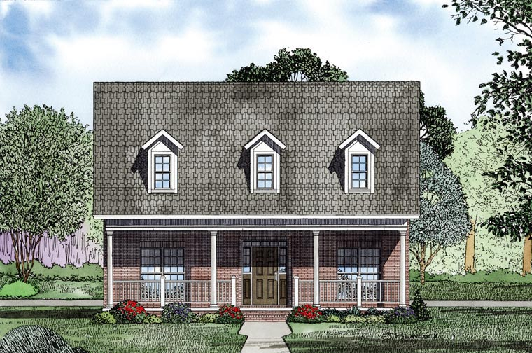 Country, Southern House Plan 61081 with 2 Beds, 2 Baths, 2 Car Garage Picture 1