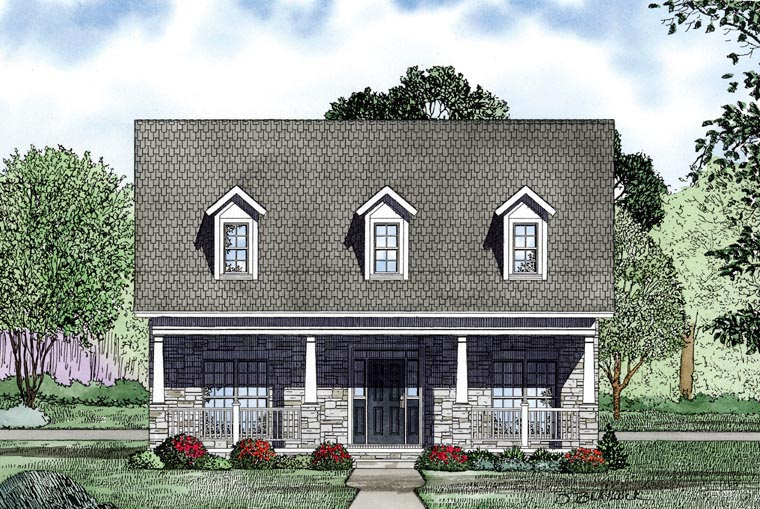 Country, Southern House Plan 61081 with 2 Beds, 2 Baths, 2 Car Garage Picture 2