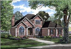 European House Plan 61083 with 4 Beds, 3 Baths, 3 Car Garage Elevation