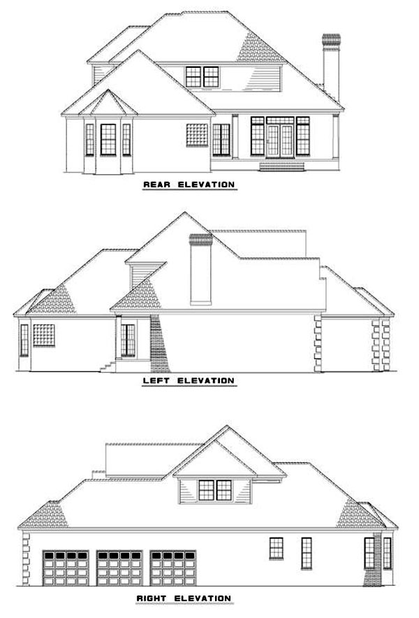 European House Plan 61083 Rear Elevation