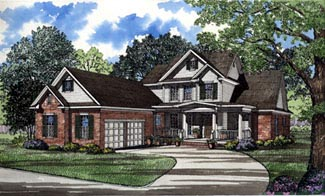 Traditional House Plan 61085 with 4 Beds, 3 Baths Front Elevation