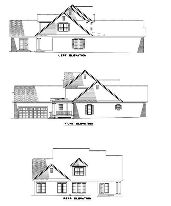 Traditional House Plan 61085 with 4 Beds, 3 Baths Rear Elevation