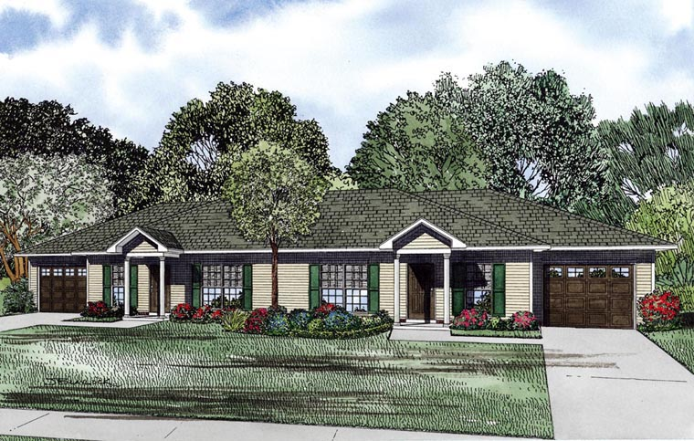 Multi-Family Plan 61089 with 4 Beds, 2 Baths, 2 Car Garage Elevation