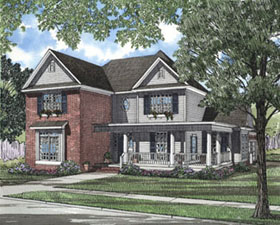 House Plan 61092 | Country Style Plan with 2676 Sq Ft, 4 Bedrooms, 3 Bathrooms, 2 Car Garage Elevation