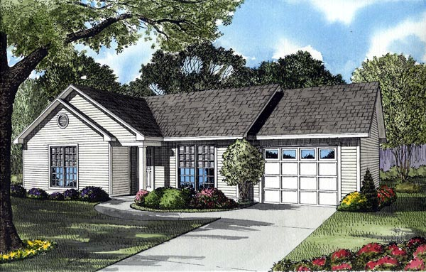 One-Story, Ranch, Traditional House Plan 61093 with 3 Beds, 1 Baths Front Elevation