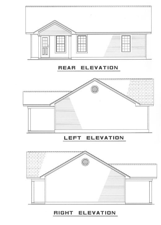 One-Story, Ranch, Traditional House Plan 61093 with 3 Beds, 1 Baths Rear Elevation