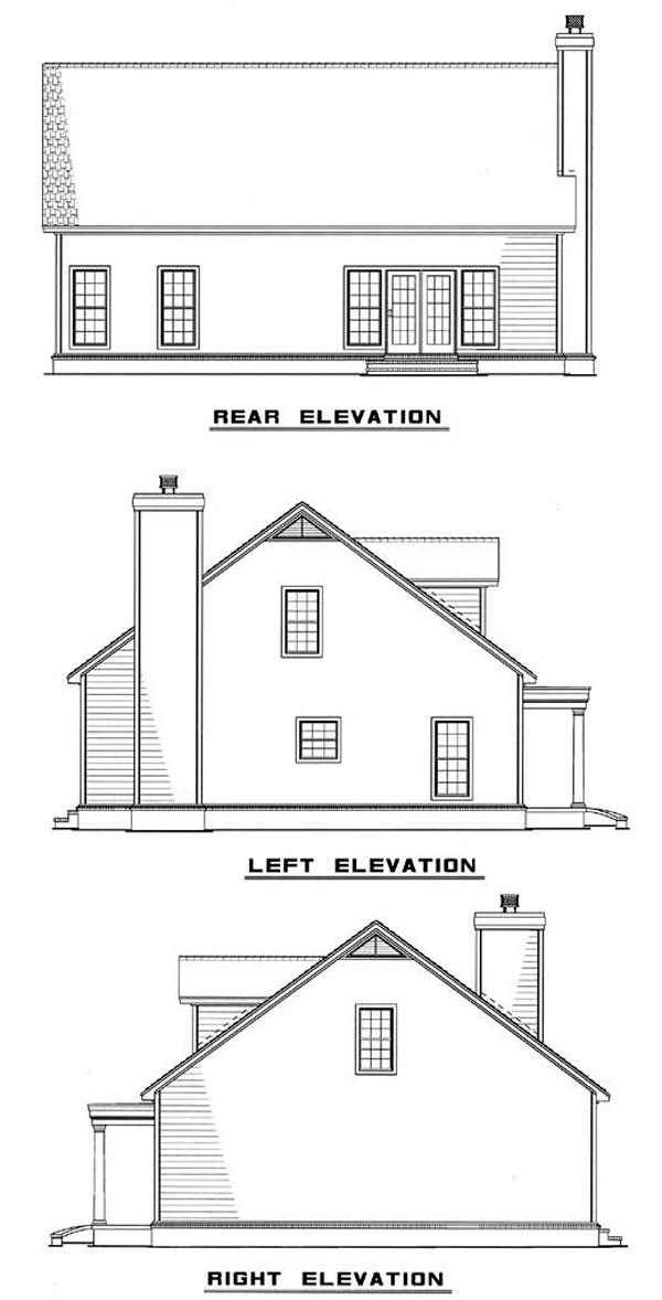 Cape Cod Rear Elevation of Plan 61094