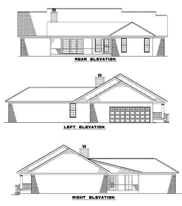 Country Ranch House Plan 61097 Rear Elevation