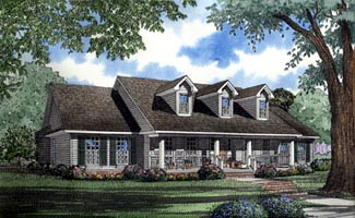 Country , Ranch House Plan 61099 with 4 Beds, 3 Baths, 2 Car Garage Elevation