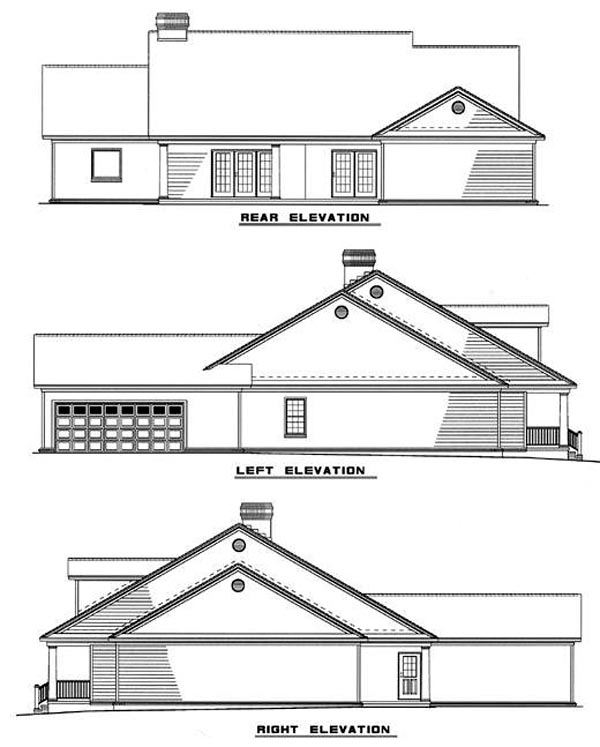 Country , Ranch House Plan 61099 with 4 Beds, 3 Baths, 2 Car Garage Rear Elevation