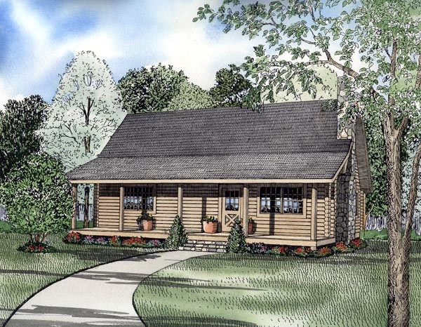 Country , Farmhouse , Log House Plan 61100 with 3 Beds, 2 Baths Elevation