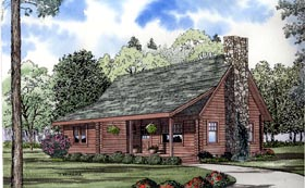 Log House Plan 61101 with 2 Beds, 2 Baths Elevation
