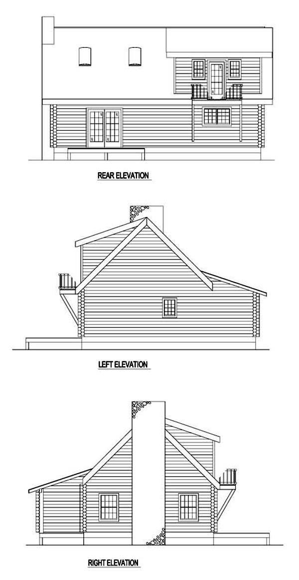 Log House Plan 61101 Rear Elevation