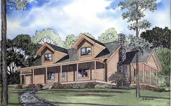 Log House Plan 61103 Elevation