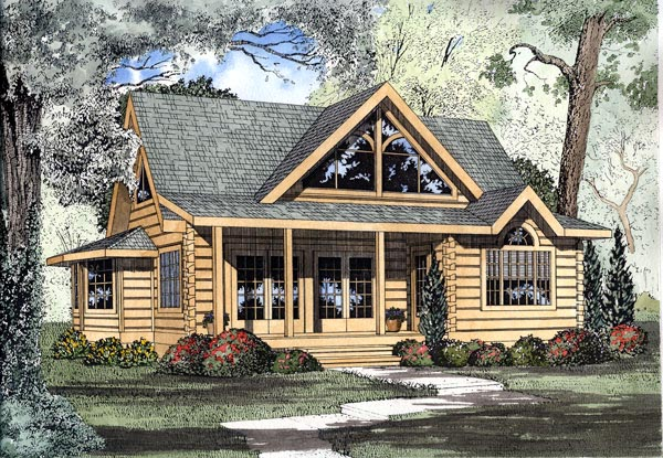 Log House Plan 61104 Elevation