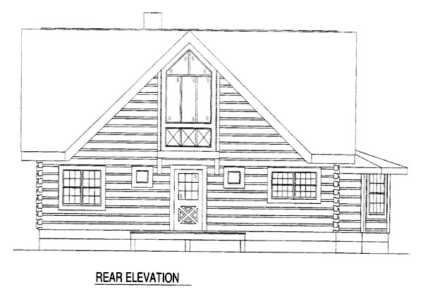Log House Plan 61104 Rear Elevation