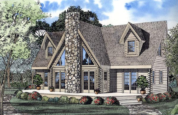 A-Frame, Contemporary, Log, House Plan 61105 with 3 Beds, 3 Baths Elevation