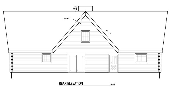 A-Frame, Contemporary, Log, House Plan 61105 with 3 Beds, 3 Baths Rear Elevation