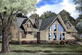 Log House Plan 61106 with 3 Beds, 3 Baths Elevation