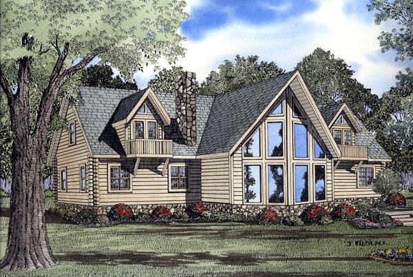 Log House Plan 61106 Elevation