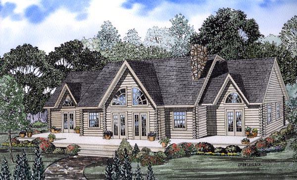 Log House Plan 61107 Elevation