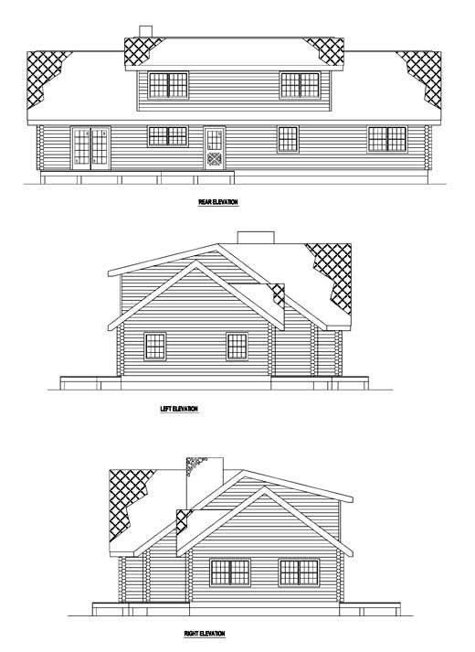 Log House Plan 61107 Rear Elevation