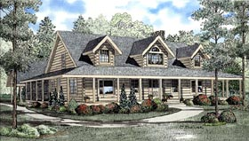 House Plan 61112 | Country Log Southern Style Plan with 3098 Sq Ft, 4 Bed, 3 Bath Elevation