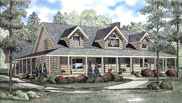 Country Log Southern House Plan 61112 Elevation