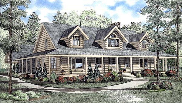 Log House Plan 61112 Elevation