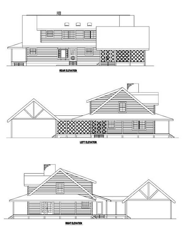 Log House Plan 61112 Rear Elevation