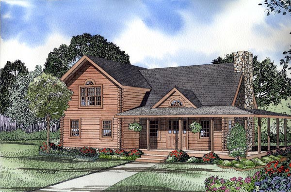 Log House Plan 61113 Elevation
