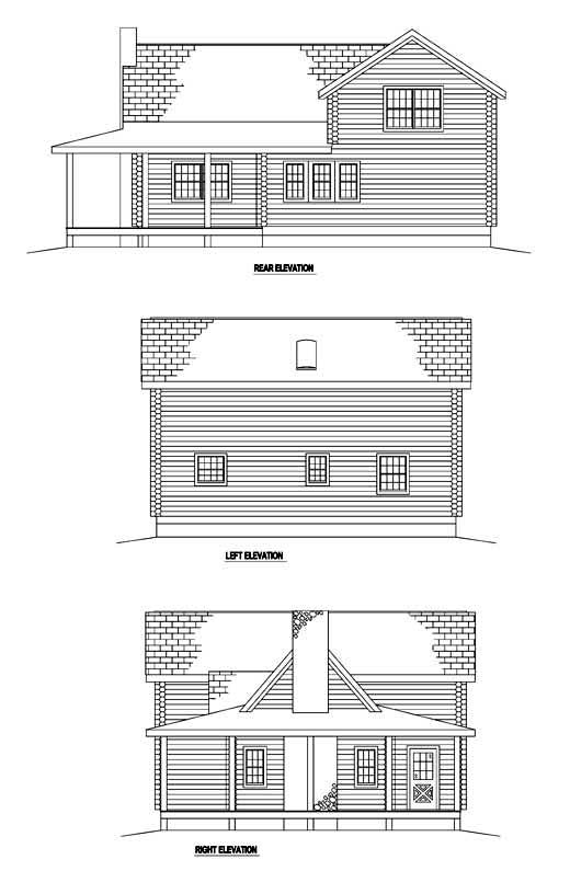 Log House Plan 61113 Rear Elevation