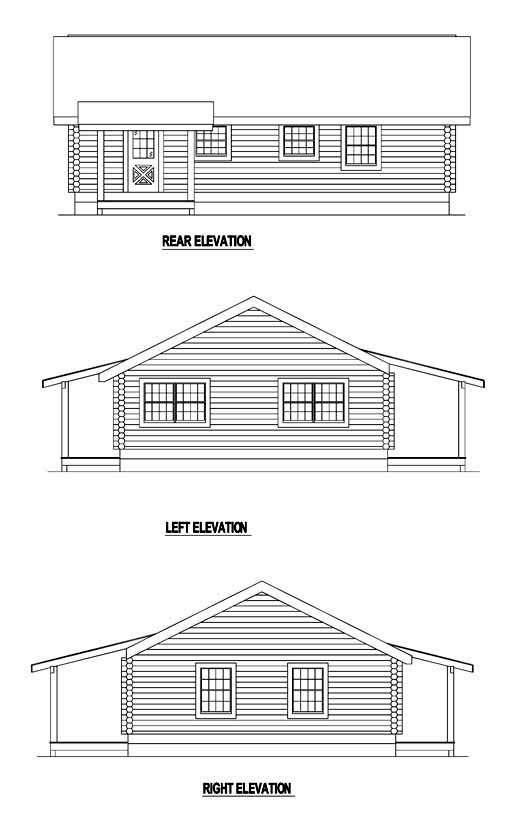 Log , Rear Elevation of Plan 61114