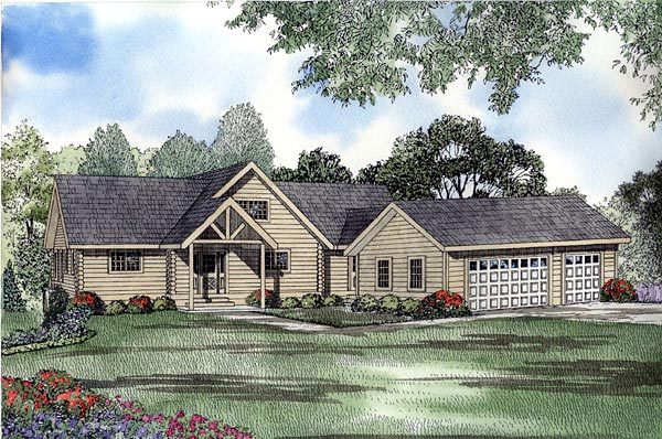 Log House Plan 61116 Elevation
