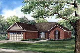 One-Story, Traditional House Plan 61117 with 3 Beds, 2 Baths, 2 Car Garage Elevation