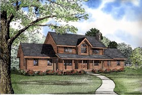 Log House Plan 61118 Elevation