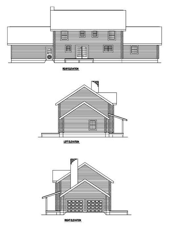 Log , Rear Elevation of Plan 61118