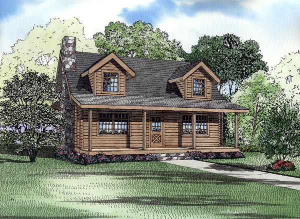 Log House Plan 61119 Elevation