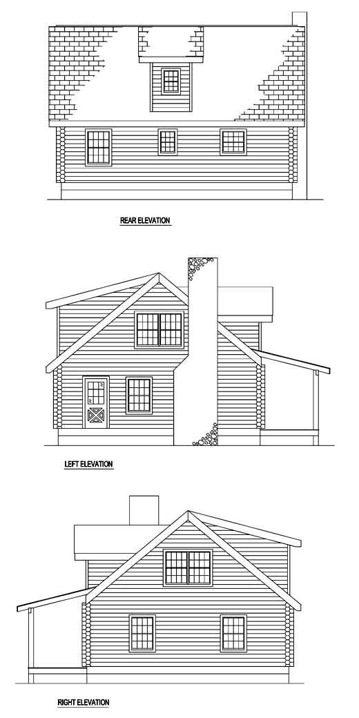 Log House Plan 61119 Rear Elevation