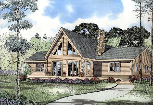 Contemporary Log House Plan 61120 Elevation