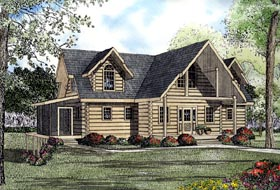 House Plan 61121 | Log Style Plan with 2569 Sq Ft, 3 Bedrooms, 4 Bathrooms Elevation