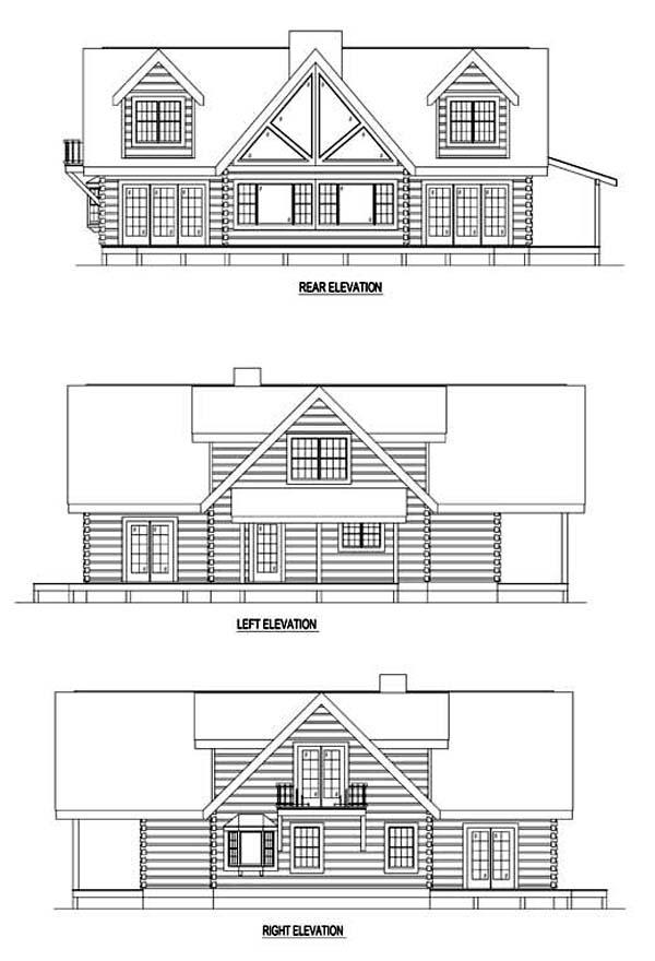 Log House Plan 61121 Rear Elevation