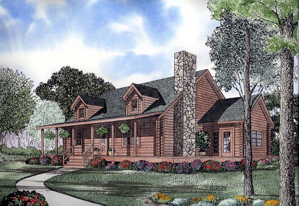 Country Log House Plan 61122 Elevation