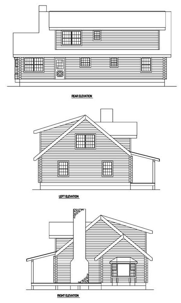 Country Log House Plan 61122 Rear Elevation