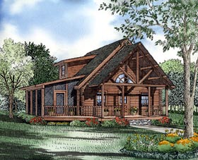 House Plan 61123 | Log Style Plan with 1122 Sq Ft, 3 Bedrooms, 2 Bathrooms Elevation