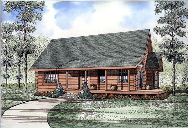 Log House Plan 61125 Elevation