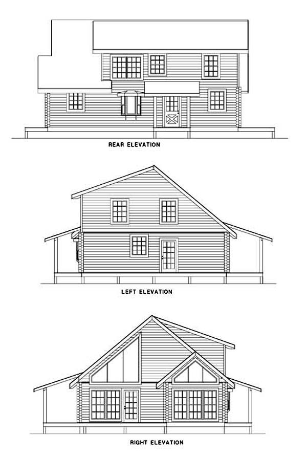 Log House Plan 61125 Rear Elevation