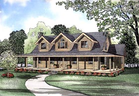 Log House Plan 61128 with 3 Beds, 3 Baths Elevation