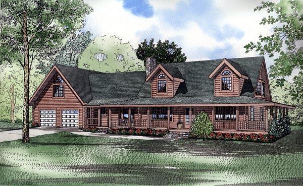 Log House Plan 61129 Elevation