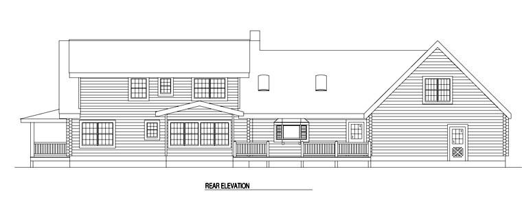 Log House Plan 61129 Rear Elevation